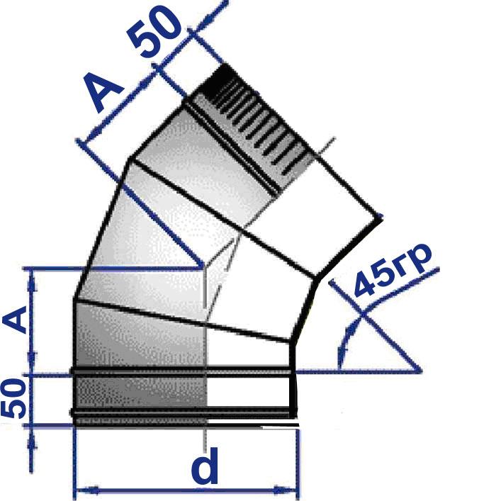 Одноконтурный отвод из нержавеющей стали 45 градусов