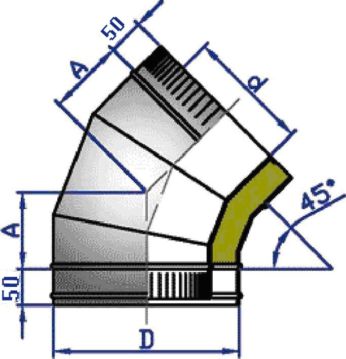 Отвод стальной двухконтурный 45