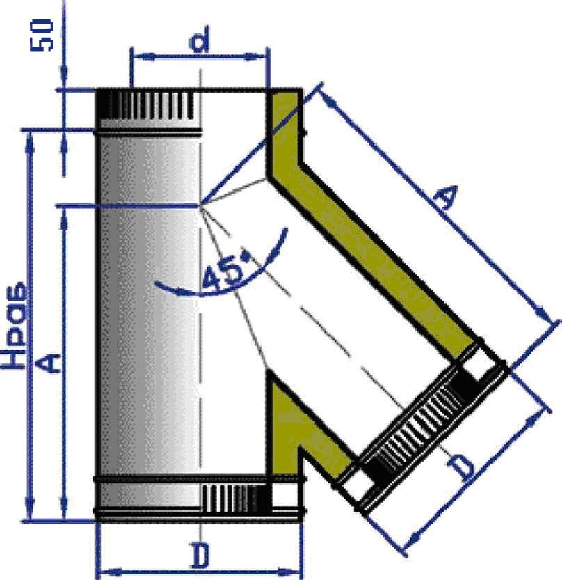 Тройник стальной двухконтурный 45 с изоляцией