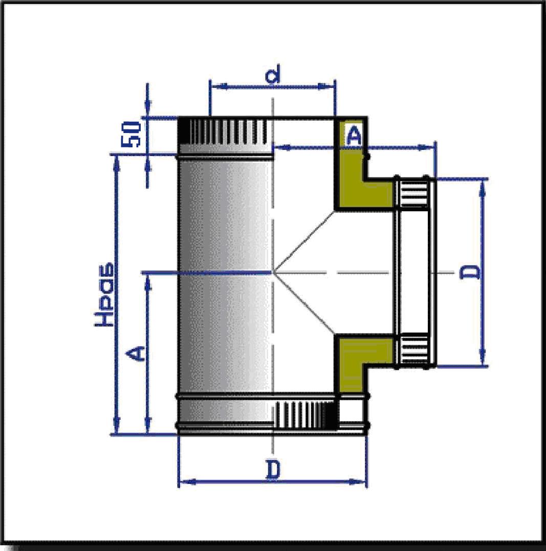 Тройник стальной двухконтурный 90 с изоляцией